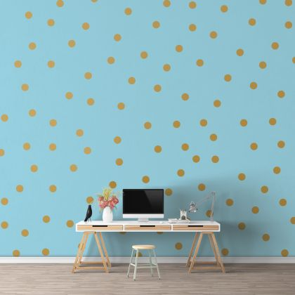 Metallic Gold Giant Polka dot Wall Decals Pattern Vinyl Wall Sticker