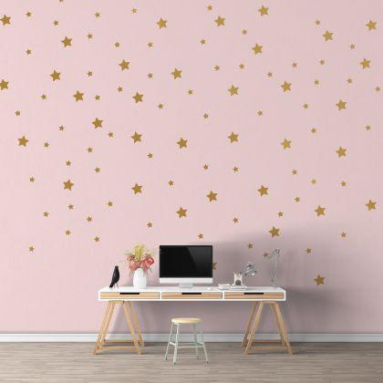 Mixed Size Metallic Gold Star Wall Decals Pattern Vinyl Wall Sticker