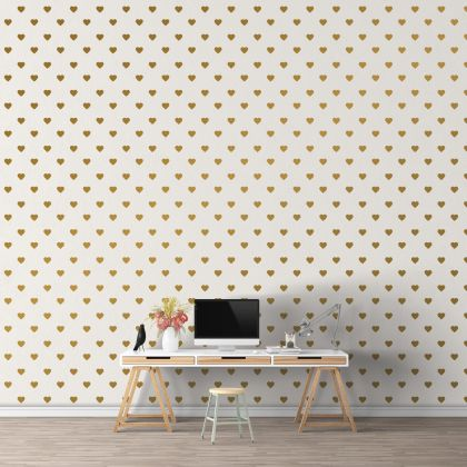 Metallic Gold Heart Wall Decals Pattern Vinyl Wall Wall Art