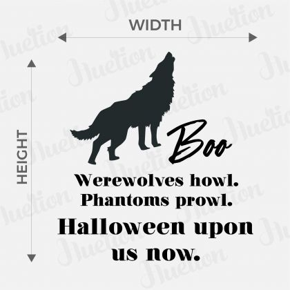 Wolf Halloween upon us now with Boo wall decal - Halloween Quote Wall Decor