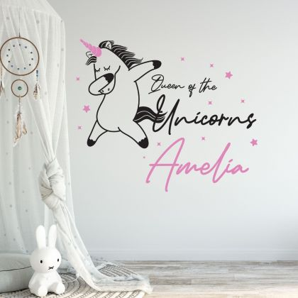 Unicorn Themed Custom Girl Name Vinyl Wall Sticker