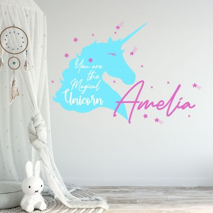 Unicorn girl room wall sticker with custom name