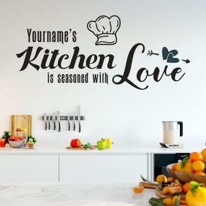 Custom Name Kitchen Love Wall Sticker - Kitchen Quote Wall Decal with Custom Name - Kitchen Quote Wall Decor for Home - Custom name kitchen Decal