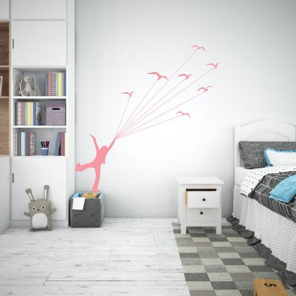 Boy Flying with Birds Nature Wall Decal for Kids