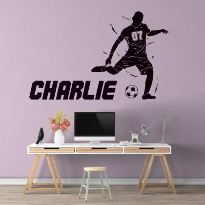 Custom Name & Jersey Number Boys Gaming Room Football Wall Stickers
