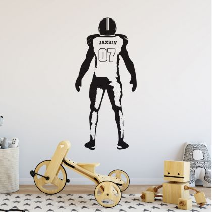 American Football Personalised Name & Jersey Number Wall Decal Stickers Decals Gaming Wall Stickers Kids Room Home Decor