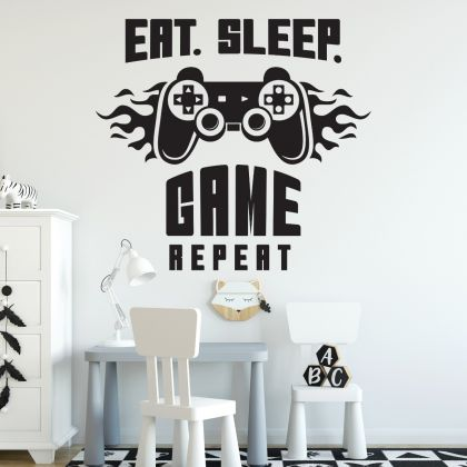 Gamer wall decal Eat Sleep Game wall decal Controller video game wall decals