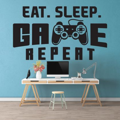 Gamer wall decal Eat Sleep Game wall decal Controller video game wall decals For Kids Bedroom