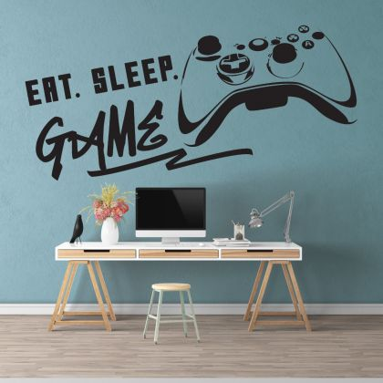 Gamer wall decal Eat Sleep Game Controller video game wall decals Vinyl Wall Art