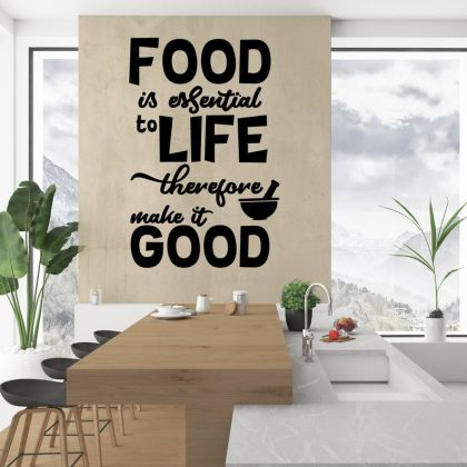 Food is essential to Life Kitchen Wall Stickers for Kitchen Quote Wall Decals