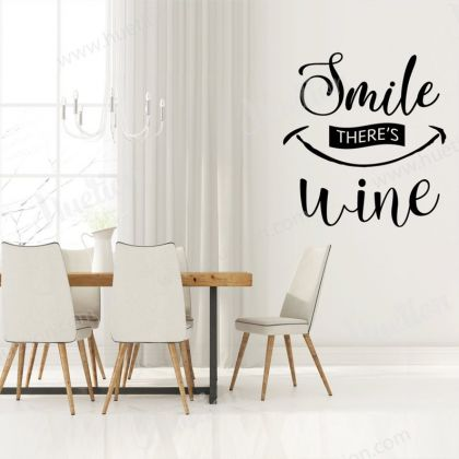 Smile there's Wine Decals for Kitchen Wall Stickers