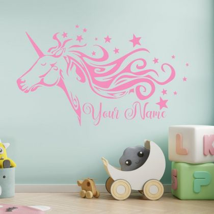 Customised Name Unicorn wall decal for Unicorn stickers unicorn girl room wall art sticker unicorn wall decal