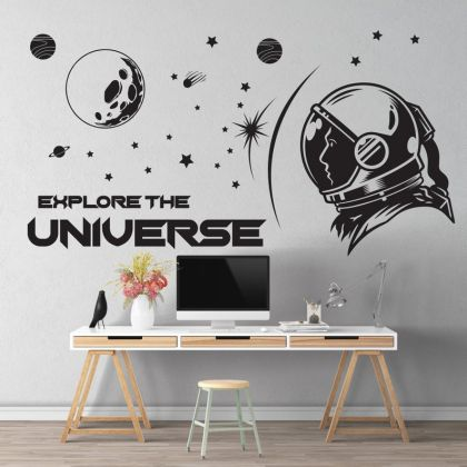 Explore the Universe Space Wall Decal for Boy Room Decor Space Themed Room Planets Wall Decal