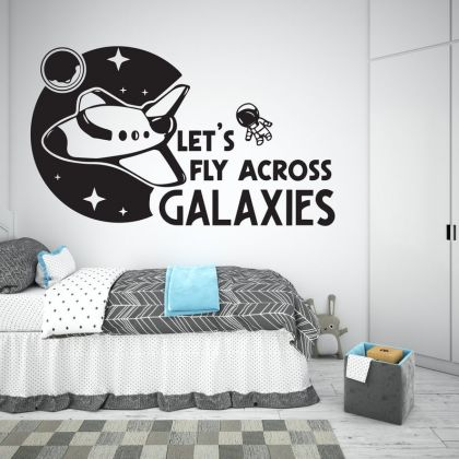 Lets fly across Galaxies Space Wall Decal Boy Room Decor for Space Themed Room Planets Wall Decal