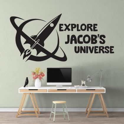 Custom Name Space Wall Decal for Boy Room Decor Space Themed Room Planets Wall Decal