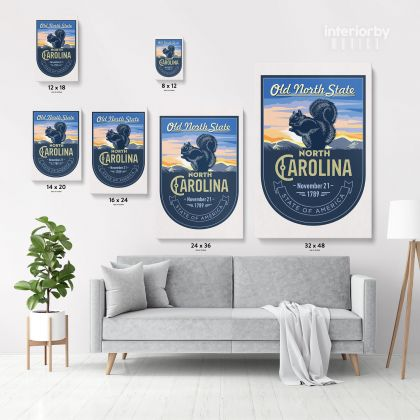 North Arolina Old North State of America Emblem Canvas Wall Artwork Mural Print For