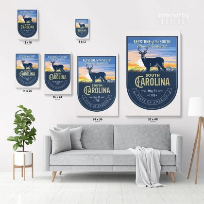 South Arolina Keystone of the South Atlantic Seaboard State of America Emblem Canvas Wall Artwork Print For
