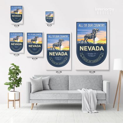 Nevada All For Our Country State of America Emblem Canvas Wall Artwork Mural Print