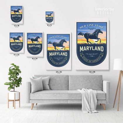 Maryland Old Line State of America Emblem Canvas Wall Artwork Mural Print