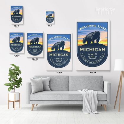 Michigan Wolverine State of America Emblem Canvas Wall Artwork Mural Print