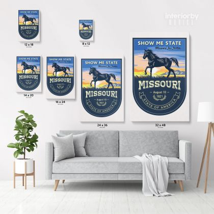 Missouri Show Me State US State of America Emblem Canvas Wall Artwork Mural Print