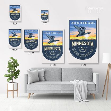 Minnesota Land of 10000 Lakes State of America Emblem Canvas Wall Artwork Mural Print
