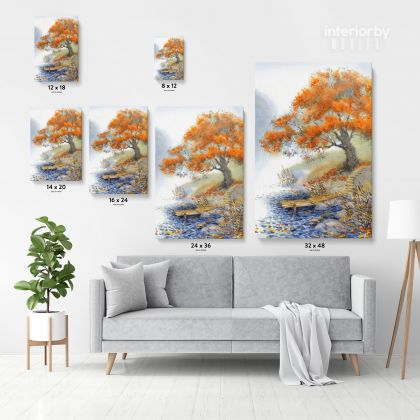 Spring Tree Watercolor Canvas with Frame Flowers Print on Canvas Wall Hangings Modern Art Picture Print ation Living Dining Room