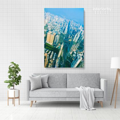 Bird's-eye view Portrait Canvas with Frame/ Roll Home Decor Building Print Poster Living Room Bedroom Wall Hangings Wall Artwork Mural Gift