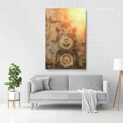 Portrait Modern Canvas Photography Clock Building Canvas with Frame/Roll Home Decor Living Room Bedroom Wall Hanging Wall Artwork Mural Gift