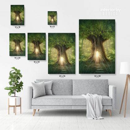 Mystic Fairy Tree of Life Enchanted Forest Mystical Lights Digital Posters Print Canvas with Frame / Rolled Canvas Wall Hangings