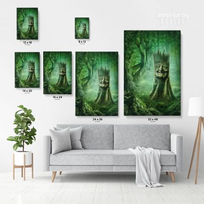 Mystic Fairy Tree of Life Enchanted Posters Print Canvas with Frame / Rolled Canvas Wall Hangings Wall Art Mural Gift Living Room