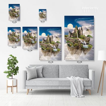 Sky Castle Blank Mystic Fairy Fantasy Posters Print Canvas with Frame/Rolled Canvas Wall Hangings Wall Art Mural Gift Living Room