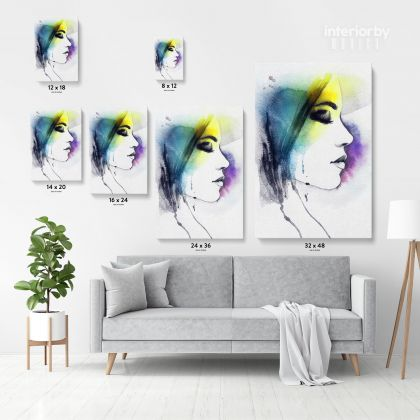 Creative Modern Women Watercolor Painting Posters Print Canvas with Frame