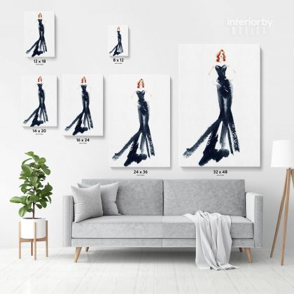 Modern Women Watercolor Painting Posters Print Black and White Canvas with Frame