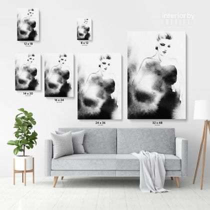 Black And White Creative Modern Women Watercolor Painting Posters Print Canvas with Frame