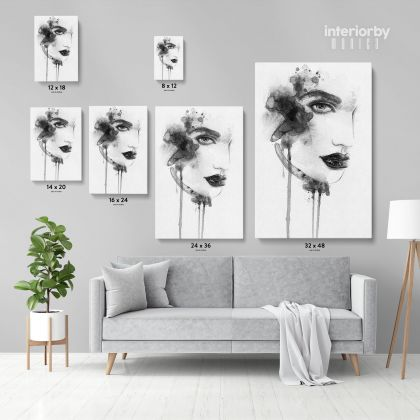 Black And White Creative Modern Women Watercolor Painting Canvas