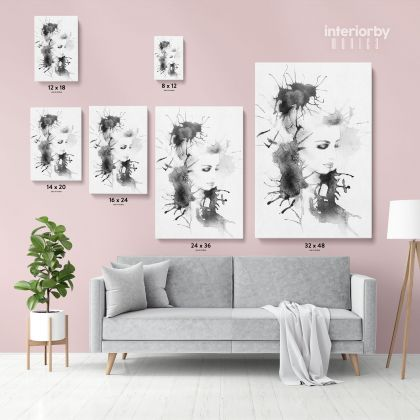 Modern Wall Art Black And White Creative Watercolor Painting with Frame