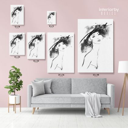Black And White Creative Women Watercolor Painting Posters Print Canvas