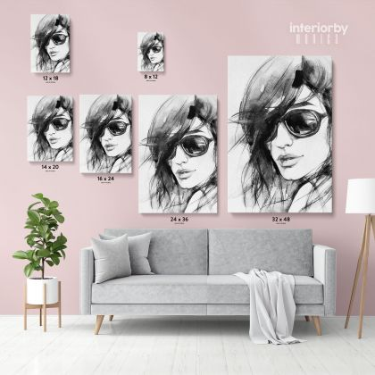 Black And White Creative Modern Women Watercolor Painting Posters Print Canvas
