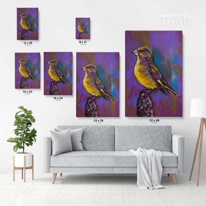 Original Birds Psittacidae Pastel Painting Posters Print Canvas with Frame