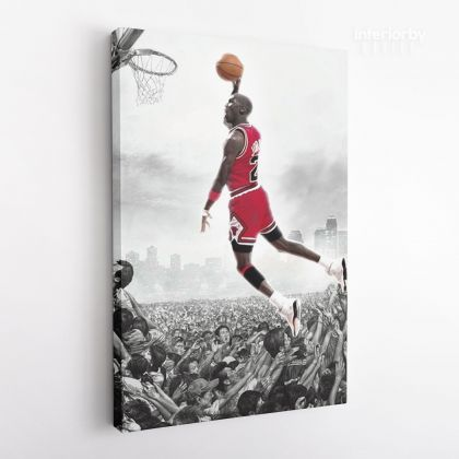 Michael Jordan Last Game Shot Basketball Canvas with Frame or Rolled Kids Gaming Zone Home Decor Wall Art