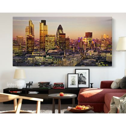 London City of Financial District Background Panoramic Wall Art Canvas With Frame / Roll Wall Hangings Living Room Bedroom Mural
