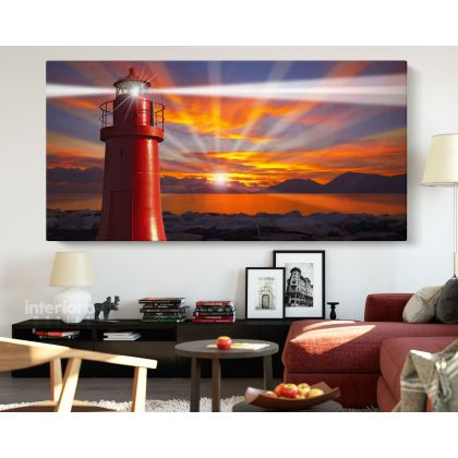 Panoramic Lighthouse Beaming Skyline Light Canvas with Frame / Roll Wall Hangings Mural Gift Living Room Bedroom Wall Art Print