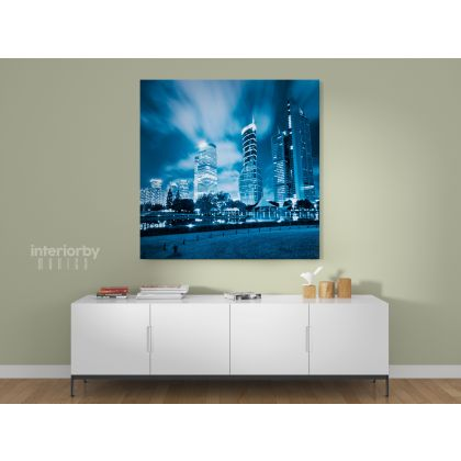 Square Photography City Building Poster Print Canvas with Frame