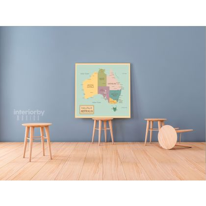 Political Map of Australia Vintage Canvas with Frame Atlas Wall Picture Poster Print For Home Decoration