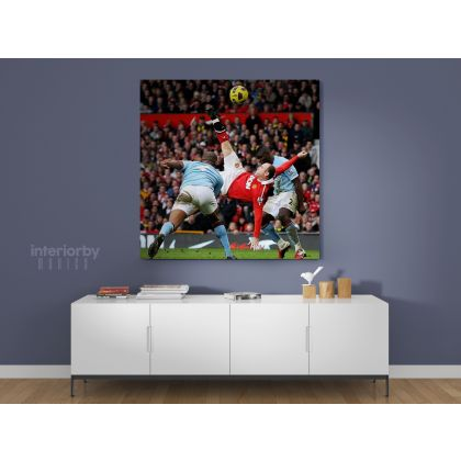 Wayne Rooney Poster Overhead Kick Soccer Player Sports Canvas with Frame