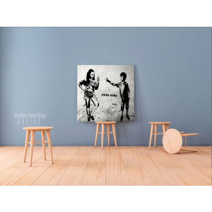Banksy Style Rude Kids Canvas with Frame