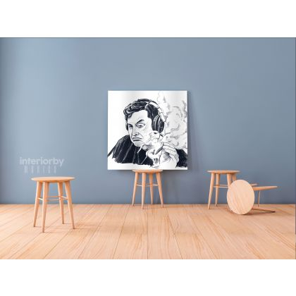 Elon Musk Poster Smoking Weed Drawing Canvas Print Poster Wall Artwork Living Room Home Decoration Frame and Rolled Wall Mural Hangings Gift