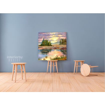 Beautiful Modern Watercolour Scenery Paint Canvas with Frame Painting Wall Art Picture Poster Print Home Decoration Living Room Mural Gift