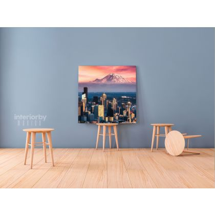 Beautiful Picture Seattle Skyline Print Photo Poster Canvas with Frame or Rolled Canvas ation Living Room Wall Hangings